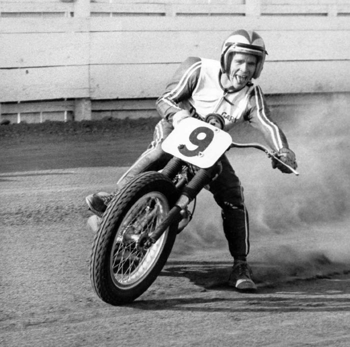 1967– Nixon, tongue out, sliding on Triumph number 9