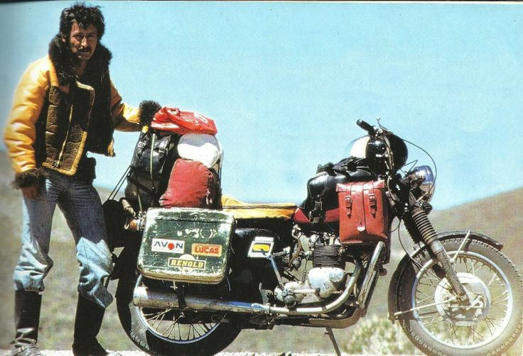 Ted Simon on Triumph Tiger 100 1973