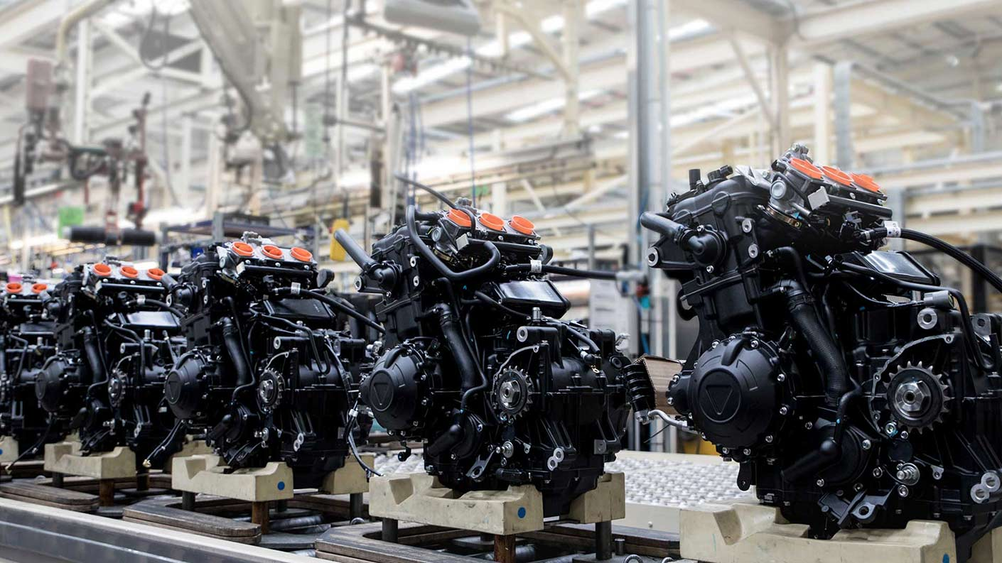 Triumph motorcycle factory line engines
