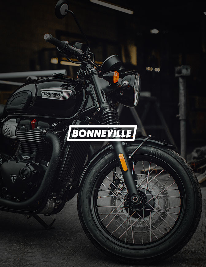 Shot of Bonneville front with text overlay saying Bonneville