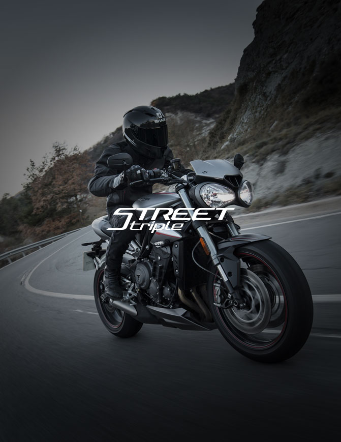 Street Triple bike with text overlay saying street triple