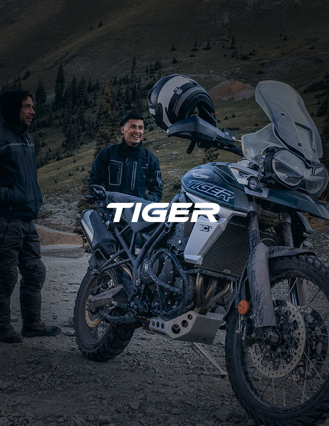 Triumph Tiger stationary shot with text overlay saying tiger