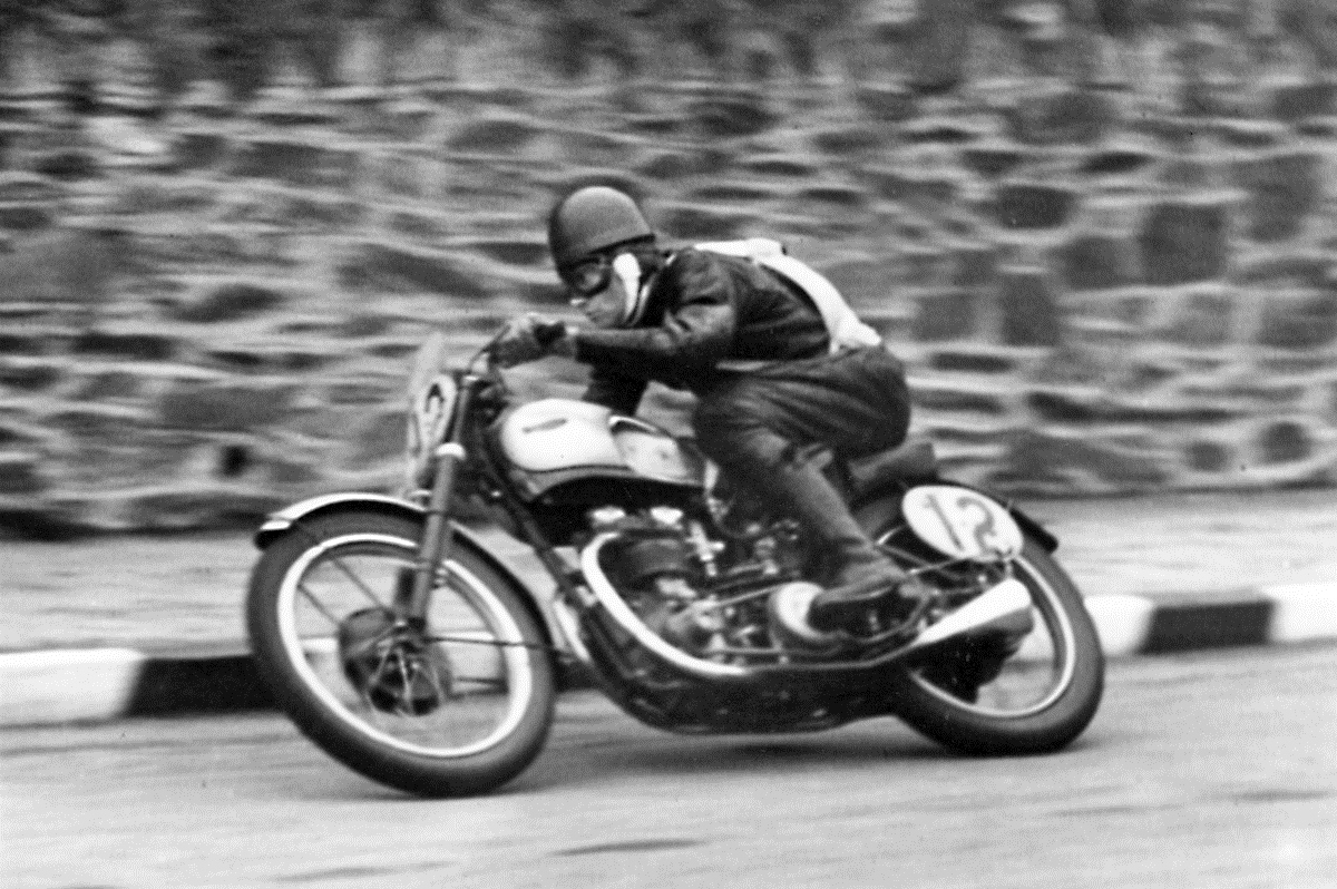 Ernie Lyons winning the 1946 Manx Grand Prix.