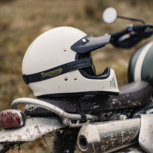 Triumph's collaboration with Bike Shed carpe terram goggles in black with gold detailing