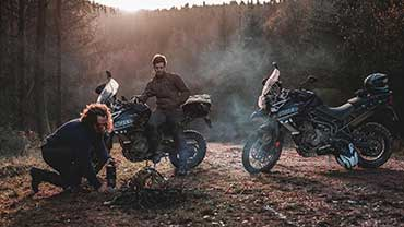 Social Influencers, Ethan Roach and the Strength Temple riding Triumph Tiger 800s at the Triumph Adventure Experience in Wales