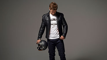 Triumph Motorcycles Clothing Vance Leather Jacket Model Studio Shot