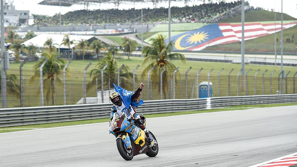 Alex Marquez celebrating his Moto2 championship