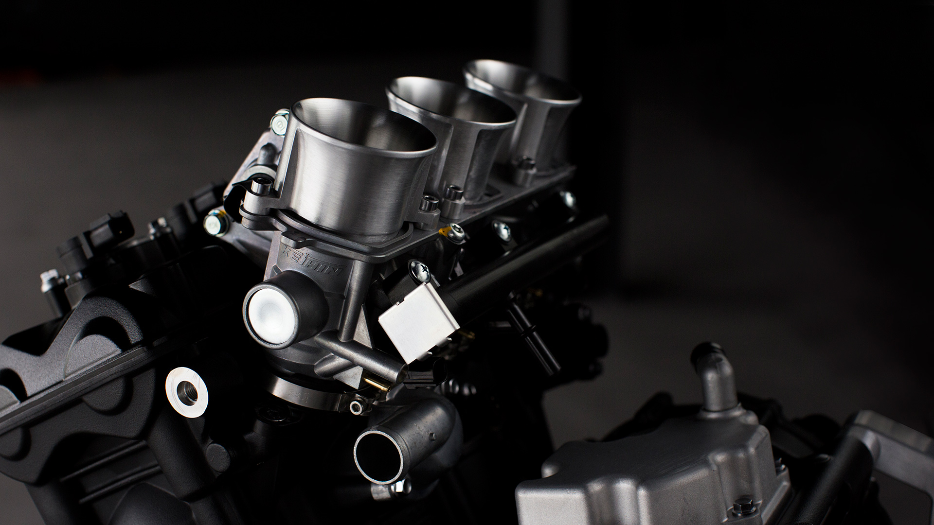 Close up of Triumph Moto2 motorcycle engine
