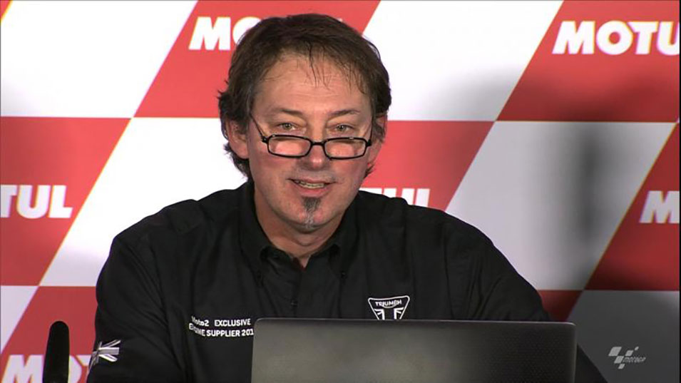 Stuart Wood speaking at the Valencia press release for Moto2