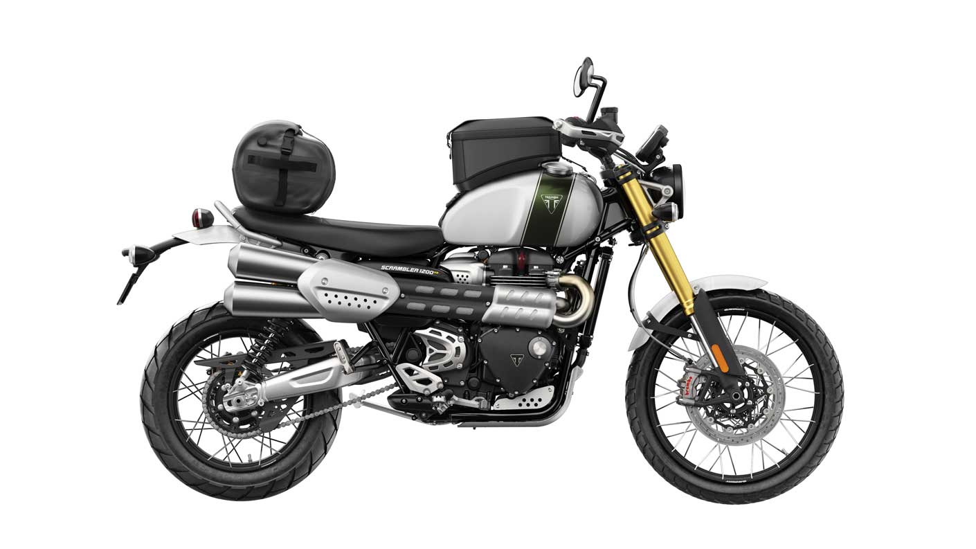 Triumph Scrambler 1200 XE with roll bag and tank bag