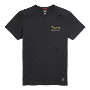 Triumph Lifestyle, Adcote printed tee, Jet black/gold, front, flat shot