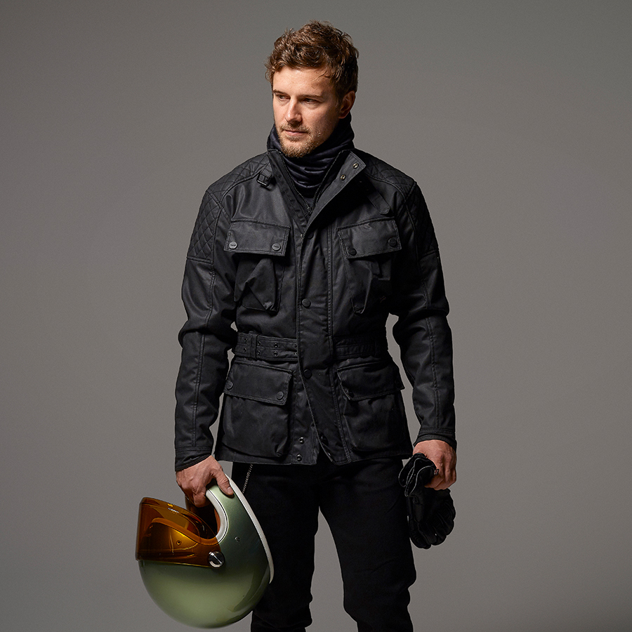 Beck 2 Black Wax Cotton Motorcycle Jacket