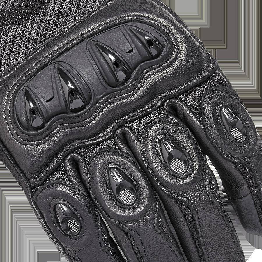 Harpton Black Leather Motorcycle Gloves