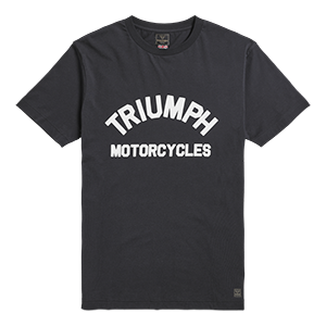 MTSS20010 Black T-Shirt with White Triumph Motorcycles Logo