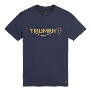 MTSS20039 Blue T-shirt with Gold Triumph Motorcycles Logo