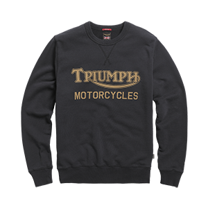 LSWS20204 Black Sweat Crew Neck Jumper with a Vintage Gold Triumph Motorcycles Logo Front