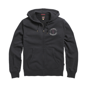 Piston Head Zip Through Hoody Black