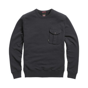 LSWS20209 Black Crew Neck Sweat Jumper with a Button up Pocket on the Left Side Front