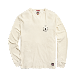 LTLSS20112 White Long Sleeved T-shirt with Black Triumph Motorcycles Logo on the left side Front