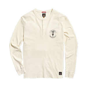Exhaust Waffle Long Sleeve Henley T-Shirt Cream