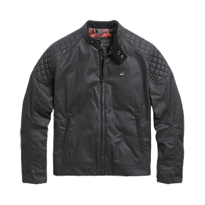 Kirk Waxed Cotton Biker Jacket Black