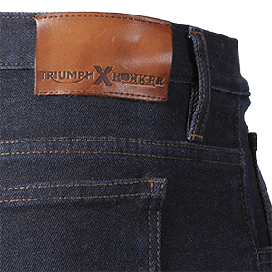 Triumph Rokker Collaboration Denim Motorcycle Jean Close up back patch