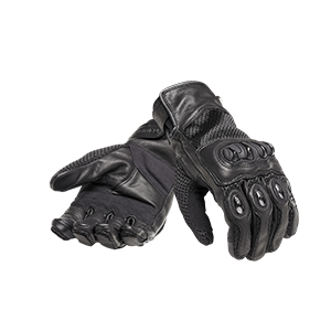 Harpton Black Leather Motorcycle Gloves