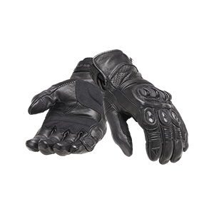 Brookes Black Leather Motorcycle Gloves