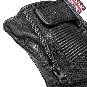 Raven Mesh Leather Motorcycle Gloves Black