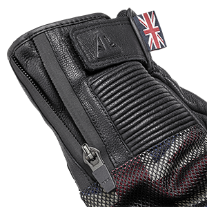 Mesh Flag Black Leather Motorcycle Gloves