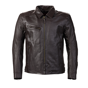 MLHS19E30 Brown Leather Jacket with a Collar