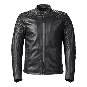 MLHS20111 Black Quilted Leather Jacket with Popper Collar