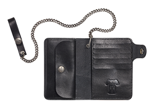 Leather Wallet With Chain Black
