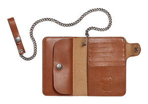 Leather Wallet With Chain Tan