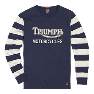 Ignition Coil Block Stripe Long Sleeve Crew T-Shirt Indigo