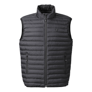 Triumph Motorcycle Adventure Clothing Mens Down Gilet Black Front Flat Shot