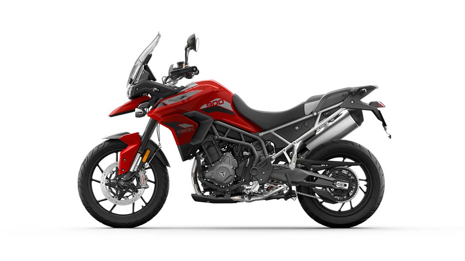 Left Hand side CGI of a Triumph Tiger 900 GT in Korosi Red