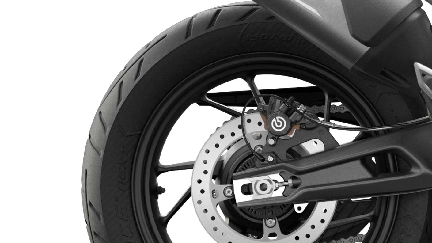 CGI close-up of Tiger 900 GT tyres