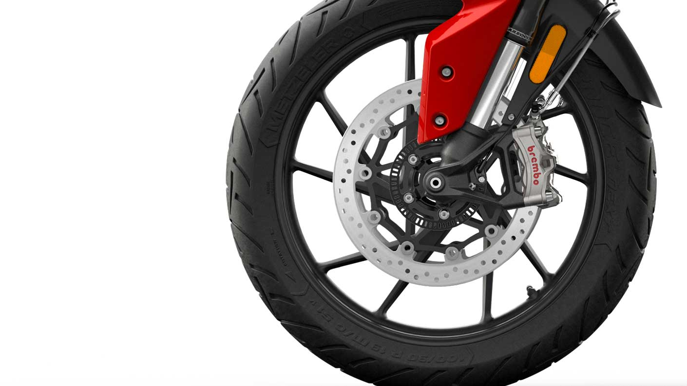 CGI close-up of Tiger 900 GT Brembo stylema® brakes