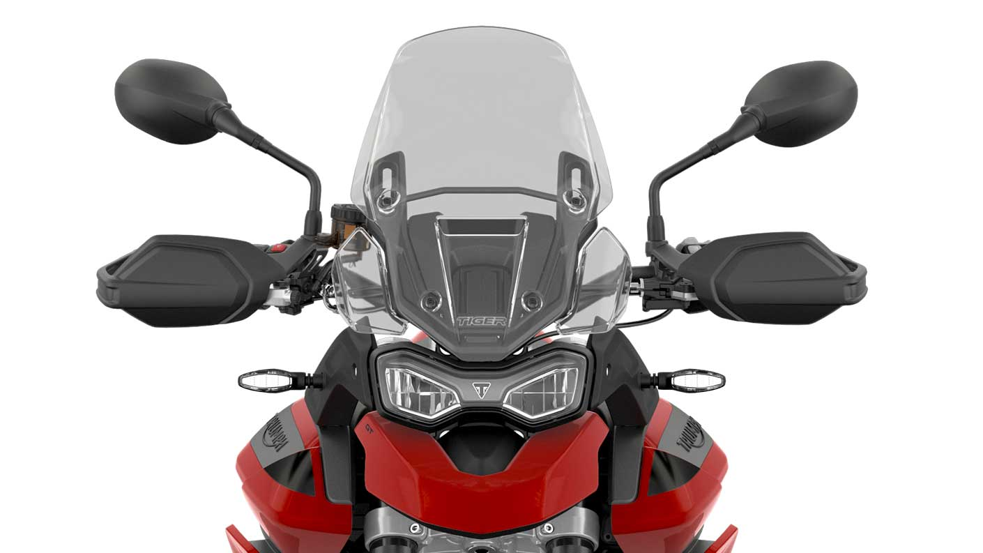 CGI close-up of the front view of a Tiger 900 GT
