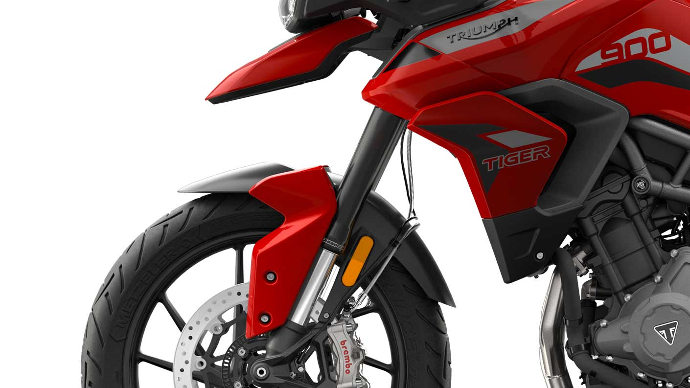 CGI close-up of Tiger 900 GT suspension