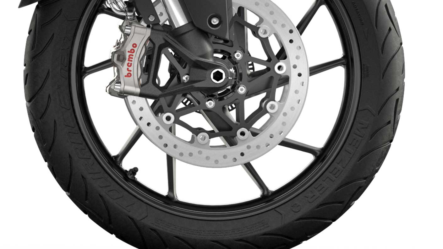 CGI close-up of Tiger 900 GT Low Brembo stylema® brakes
