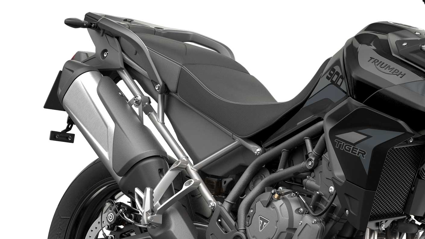 CGI close-up of Tiger 900 GT Exhaust and rider seat