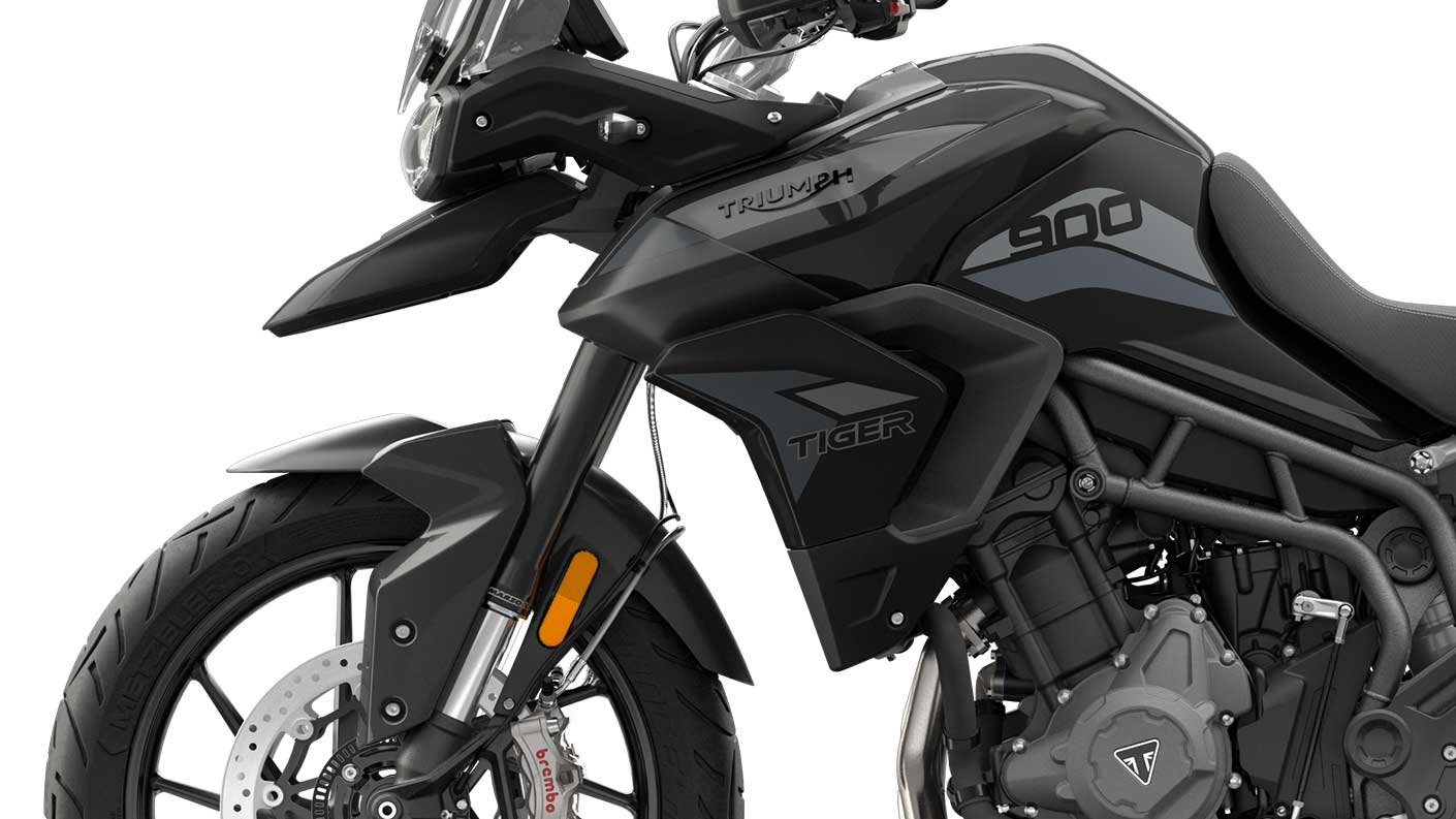 CGI close-up of Tiger 900 GT front suspension