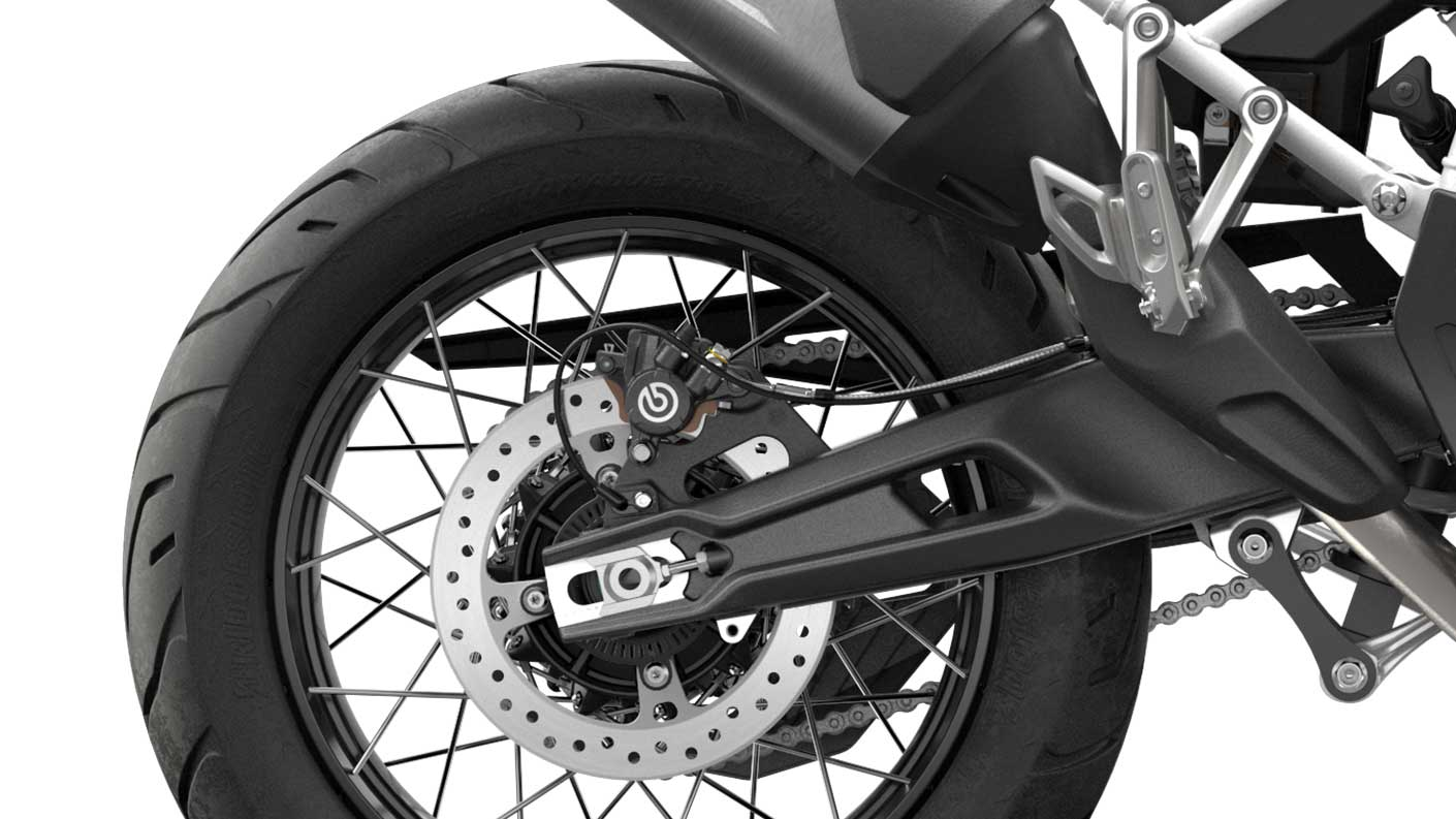 CGI close-up of Tiger 900 Rally Spoked tubeless wheels