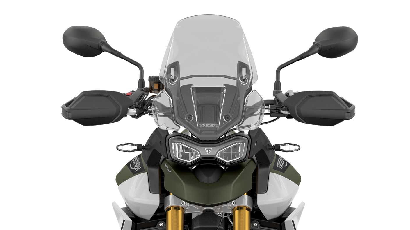 CGI close -up of the front of a Triumph Tiger 900 Rally