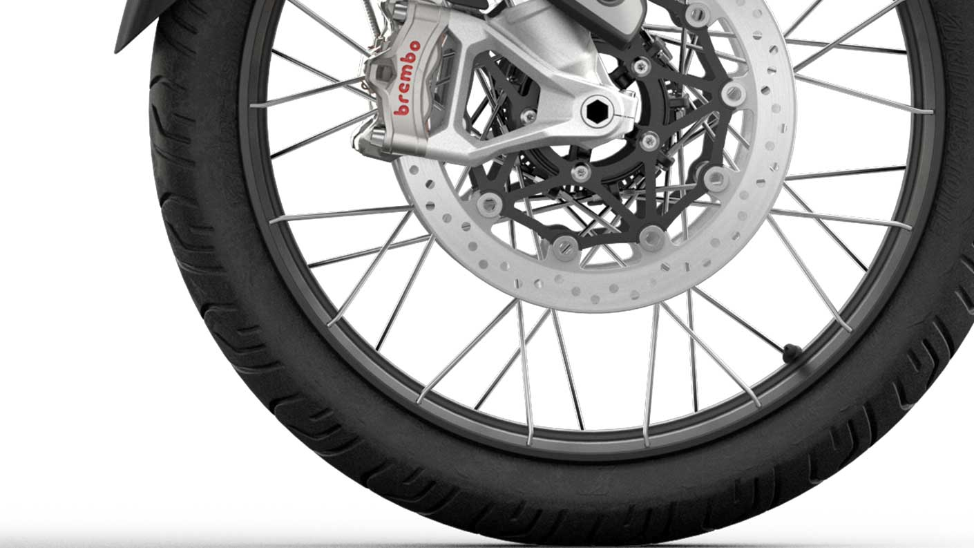 CGI close -up of  Triumph Tiger 900 Rally Spoked tubeless wheels