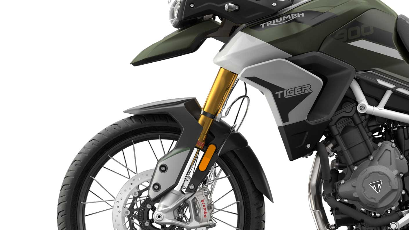 CGI close -up of  Triumph Tiger 900 Rally front suspension