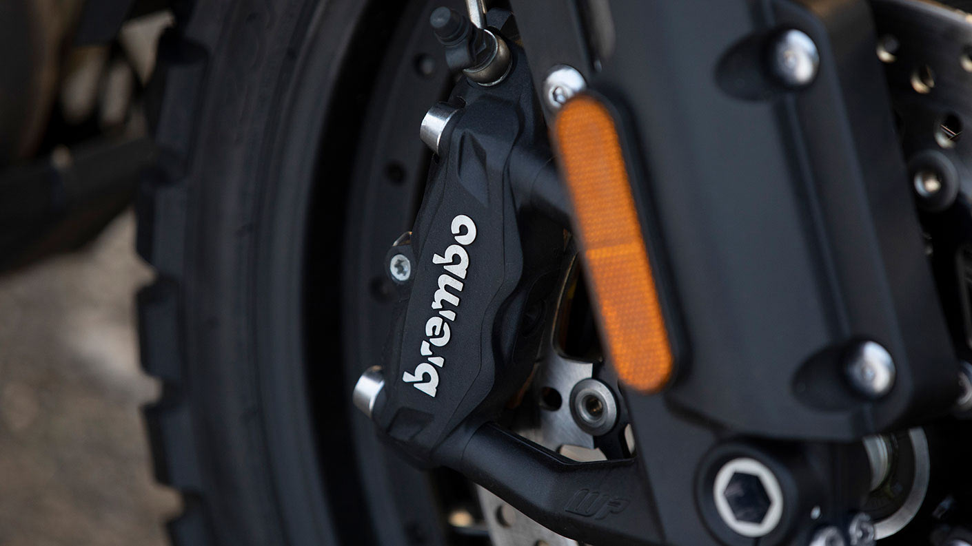 Close-up shot of the Triumph Tiger 1200 Desert Edition's Brembo brakes