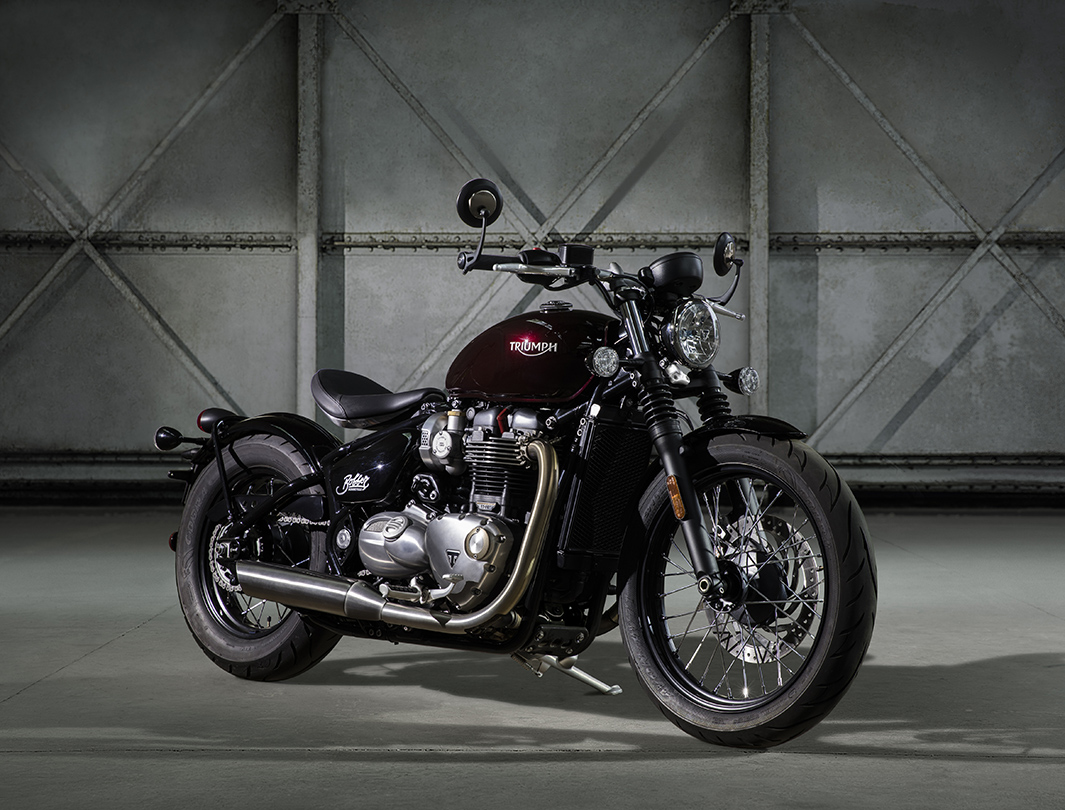 Triumph Bonneville Bobber in garage